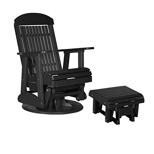 Swivel Poly - LuxCraft Poly Recycled Plastic 2' Classic Swivel Glider Chair with Ottoman Foot Rest (Earthtone - Black)