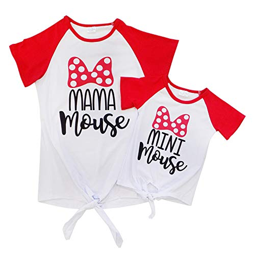 Mom Mommy & Me T-Shirt - Toddler Girls Teens Moms - Matching Mom Daughter Outfits (Child 12-24 Months (XXS), Mama or Mini Mouse)