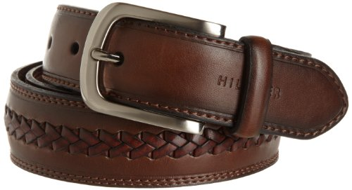Tommy Hilfiger Men's Casual Fabric Belt, Brown, 38 - Fabric Brown Leather
