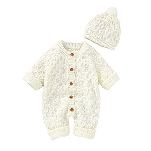 Pasgeboren Baby Gebreide Romper Hoed Set Baby Snowsuit Bodysuit Overalls voor Jongens Meisjes