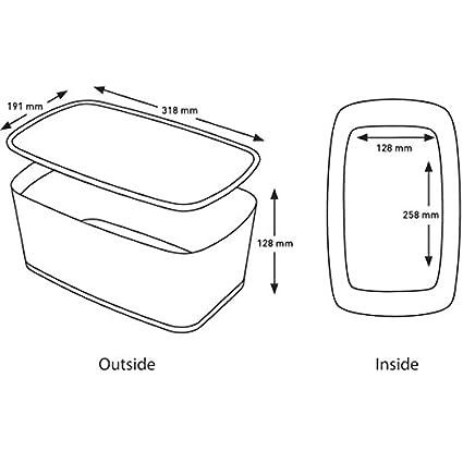 Leitz MyBox Peque/ña con tapa Pl/ástico brillante 52291023 A5 Blanco//Rosa metalizado 5 litros Caja de almacenaje para casa o la oficina