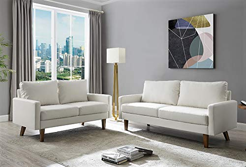 Living Room Container Furniture Direct Pantaleon Mid Century Modern Faux Leather Living Room Sofa, 69.7″, Gream White modern sofas and couches