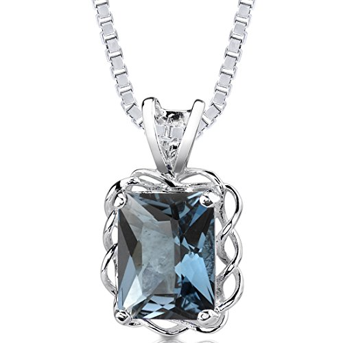 (London Blue Topaz Pendant Necklace Sterling Silver Radiant Cut 2.50 Carat)