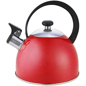 Riwendell Stainless Steel Whistling Tea Kettle 2.7-Quart StoveTop Kettle Teapot (Red)
