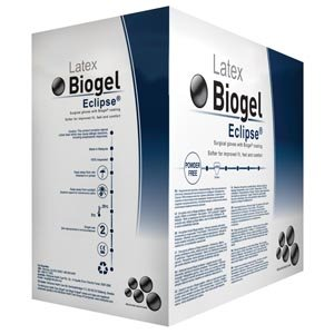 Molnlycke 75270 Biogel Eclipse Sterile Powder Free Surgical Glove, Natural Rubber, Straw, 7'' Length, Latex, Beaded-Cuff (Pack of 200)
