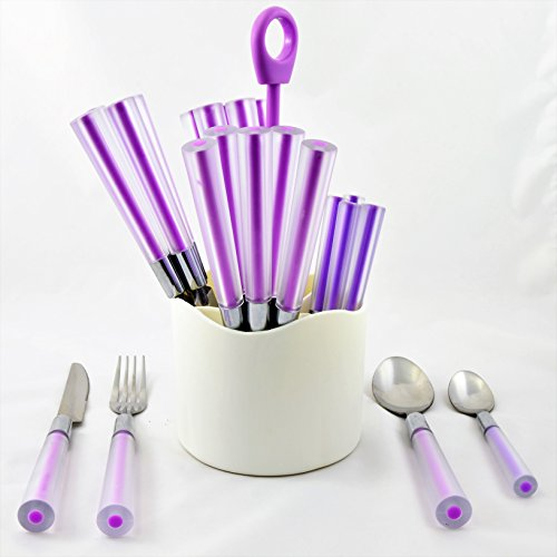 Purple Cutlery (Nature Home Decor RE6116 Rainbow Elite Collection Stainless Steel 24 Piece Flatware Set for Service of Six with Purple Color PVC Handles And White Storage Caddy)