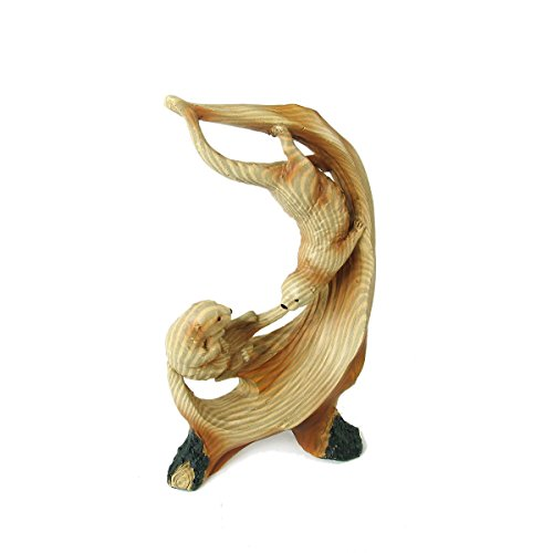 Animal Wildlife Collection Wood Finish Playful Sea Otters Figurine