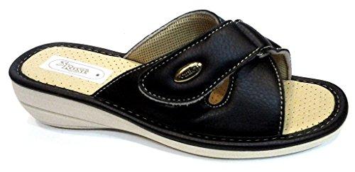 3Rose - Zapatillas de estar por casa de piel sintética para mujer negro negro 37