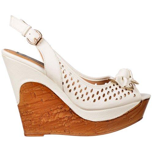Détail Femmes arc Onlineshoe Blanc Sling Toe compensées Sandales Été Blanc Mesdames Blanc Noir Peep z8w8Z6qd