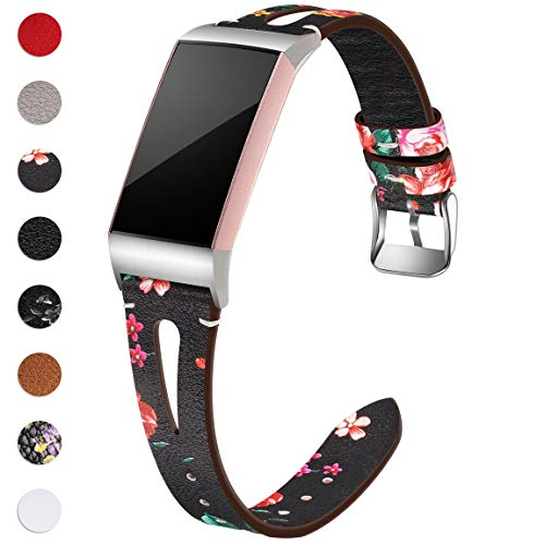 Maledan Compatible with Fitbit Charge 3 Bands for Women Men, Slim Genuine Leather Band Replacement Accessories Strap for Charge 3 and Charge 3 SE, Small, Black/Red Floral