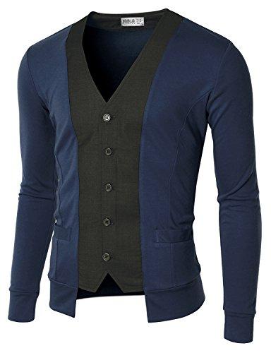 (Doublju Mens Stylish Slim Cardigan BLUE L/(US-M))