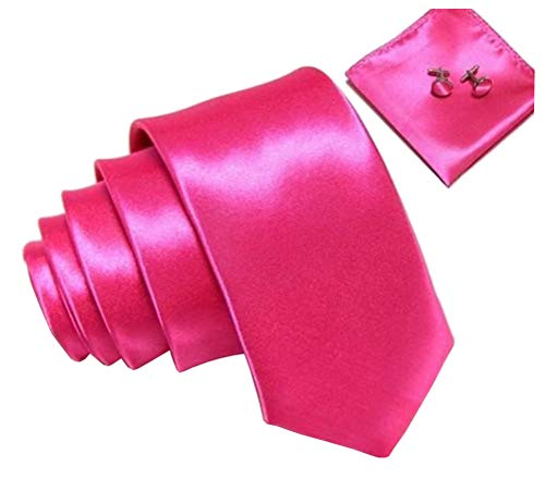 (Kingsquare Solid Color Men's Tie, Pocket Square, and Cufflinks matching set (Hot Pink))