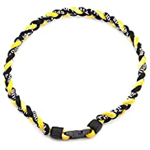 "20"" Titanium Ionic Sports Necklace 3 Rope Neck Rope for Baseball Softball Soccer(Black/Black/Yellow)"