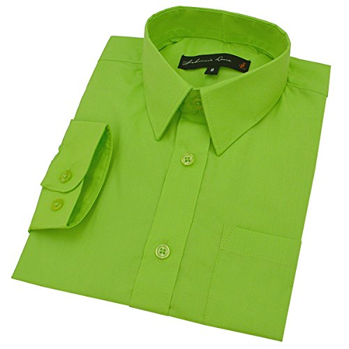 Johnnie Lene Big Boy's Long Sleeves Solid Dress Shirt #JL32 (8, Lime) -