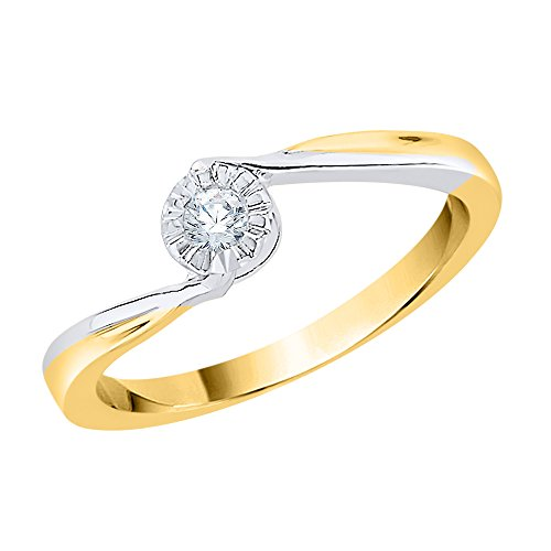 KATARINA Diamond Solitaire Promise Ring in 14K Two Tone Gold (1/10 cttw, G-H, I2-I3) (Size-7) ()