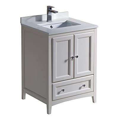 "Fresca Oxford 24"" Antique White Traditional Bathroom Cabinet with Top  and Sinks - Amazon.com: Fresca Oxford 24"