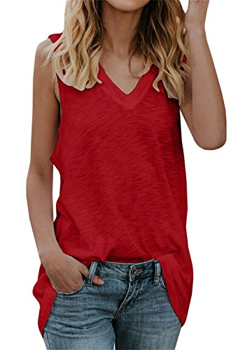 Gemijack Womens Tank Tops V Neck Sleeveless Casual Summer Loose Fit Cotton Long Tunic Shirts