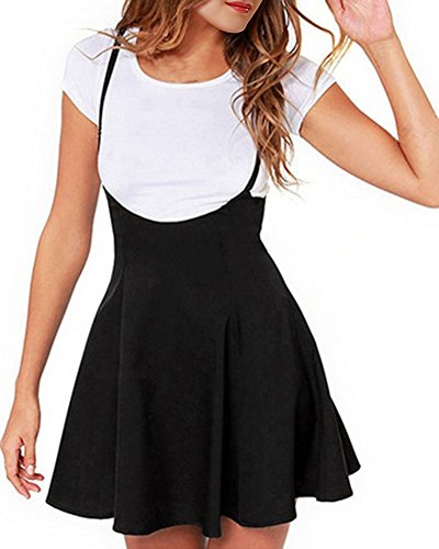 Womens-Preppy-Ruffle-Pull-on-Gallus-Skirt