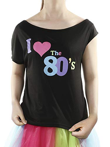 Skylety 80s Party Costume Off Shoulder T Shirt Halloween Dressing for Women and Girls (S, Print 2) for $<!--$9.99-->