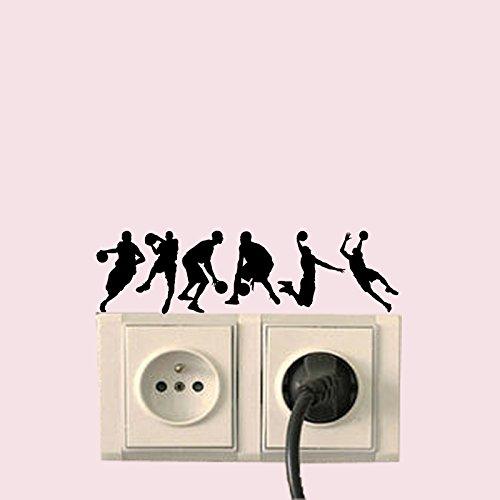 QIANGTIE Silhouette de basket-ball Sticker vinyle autocollant Interrupteur d'éclairage chambre à coucher