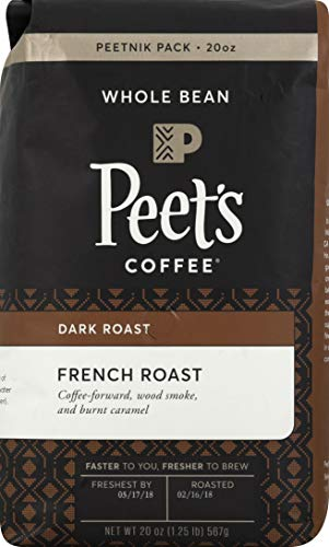 Peet's Coffee French Roast, Dark Roast Whole Bean Coffee, 20 Ounce Peetnik Pack (Coffee Roast Whole Bean Italian)