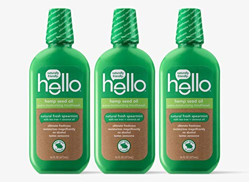Hello Oral Care Hemp seed oil mouthwash, 3 Count