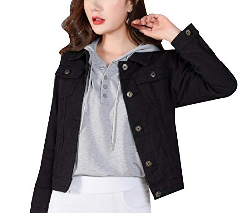 Outerwear Denim Sleeve Long Women's Wrap Relaxed Coat Boyfriend Black XINHEO FwOSq8
