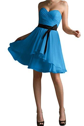 Mit Cocktailkleid Passe Blau Kurz Abendkleid Bride Herzform Gorgeous Schwarz Überknie Modisch Partykleid UWwIxqpH