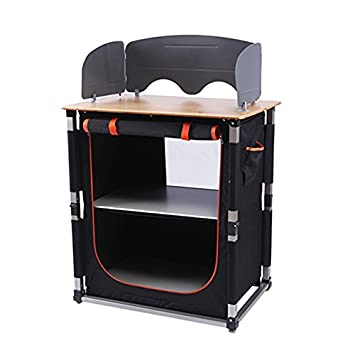 KingCamp Foldable Cook Prep Station Serve Cart Camper s Kitchen Aluminum Frame Bamboo Desktop Cooking Table with Storage Organizer, Windscreen for Camping, Picnic, BBQ and Outdoor