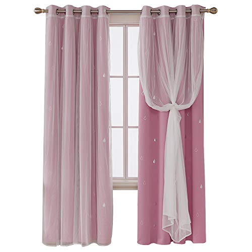 Deconovo Mix And Match Curtain Set 2-Piece Silver Waterdrops Printed Blackout Curtains Pink and 2-Piece White Tulle Lace Sheer Curtains for Girls Room with Grommet Top, 4 Curtain Panel, 52W x 84L Inch