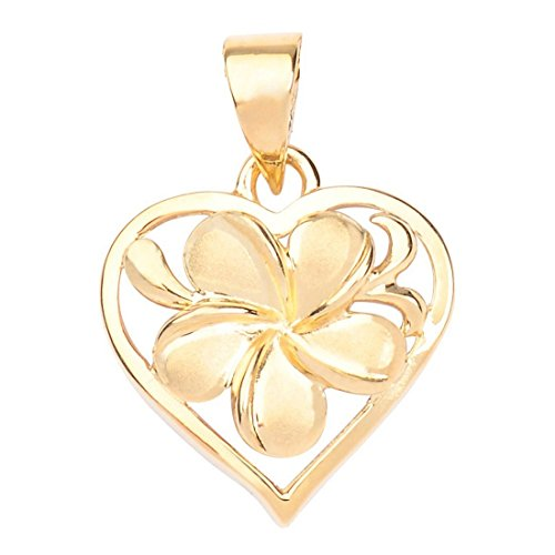 Hawaiian Heirloom Jewelry 14k Gold Plumeria Heart Pendant