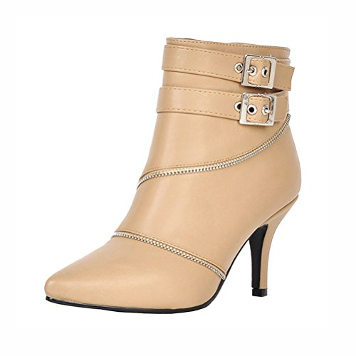 Zip Ankle Agodor Boots Womens Stiletto High Heels With Apricot Elegant Shoes Buckle Closed Toe Winter anx8XAYqn