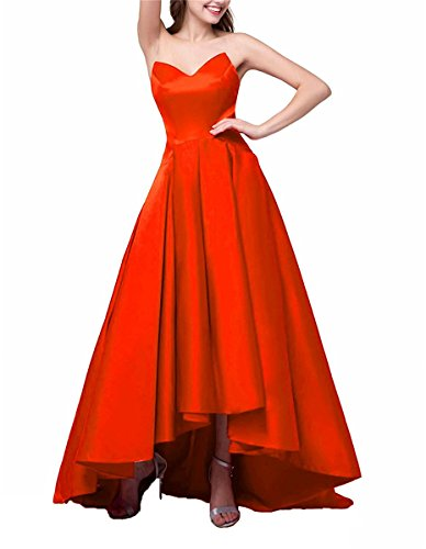 Dresses Delle High low Arancione Tutu Convenzionali Prom Tesoro Drehouse Donne Eveing abiti 2018 Raso vm08nNw