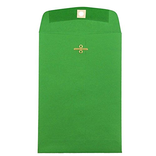 "JAM Paper 6"" x 9"" Open End Envelope with Clasp Closure - Green Recycled - 10/pack"