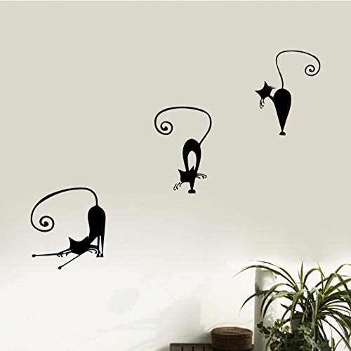 HDWPSHHY Creative DIY Cat Wall Stickers for Kids Bedroom Self Adhesive Removable Sticker Home Decor Living Room Sofa Decorative Wallpaper ()