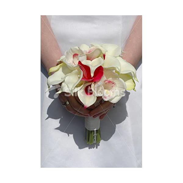 Tropical Ivory Lily & Orchid Bridal Bouquet w/ Pink Frangipanis