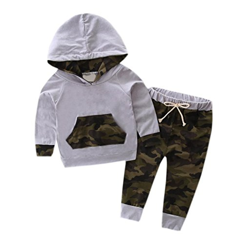 Woaills 0 24M Baby Boy Camouflage Outfits Hot Sale Toddler Kid Hooded Tracksuit Top   Pants Clothes Set  6M  Gray