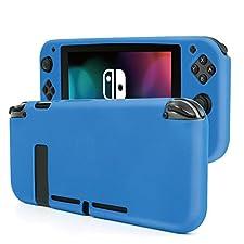 TNP Nintendo Switch Joy-Con Grip Gel Guards - Protective Anti-Slip Ergonomic Comfort Controller Grip Case Cover Skin Silicon for Console Joy Con Left & Right Accessories (Neon Blue)