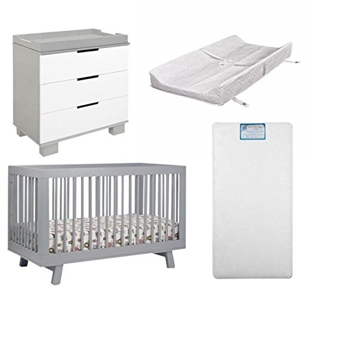 Home Square 4 Piece Nursery Furniture Set with Changer and Crib with Padding in Gray & White