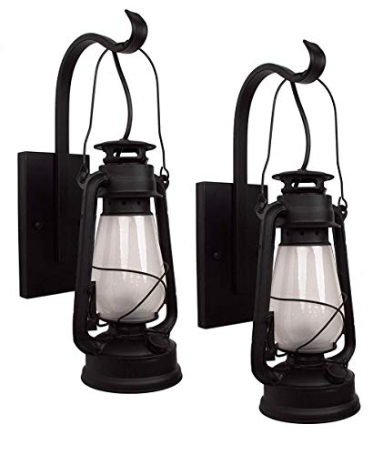 Set of Lantern Wall Sconce Large Frosted Hurricane Glass (Black) 2 Pack