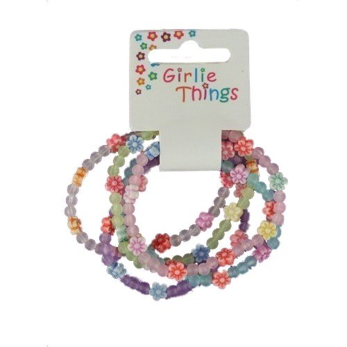 Girls Frosted Flowers Bracelets - Pack of 5 Glitzy Jewels