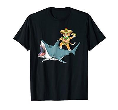 Funny Cinco De Mayo Cat Shirt - Cat Riding a Shark