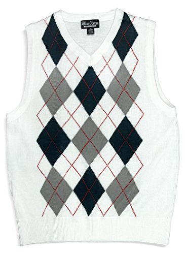 White Argyle Sweater Vest - 1