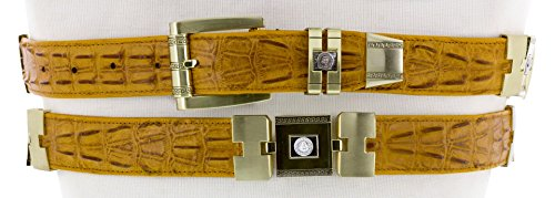 Cowboy Professional - Men's Buttercup Crocodile Tail Print Leather Belt Gold Links 34