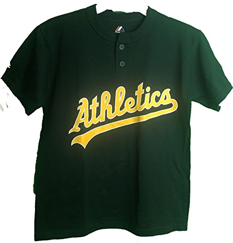 Majestic MLB Oakland Athletics Two Button Youth Jersey T-Shirt (Medium 10/12) -
