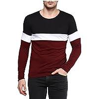 Urbano Fashion Men's Cotton Color-Block Round Neck Full Sleeve T-Shirt