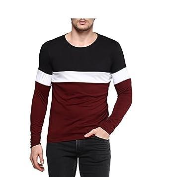Urbano Fashion Men's Black, White, Maroon Round Neck Full Sleeve T ...