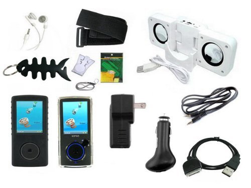iShoppingdeals- 13 Items Premium Accessory Bundle Combo For Sandisk Sansa View 8GB,16GB,32GB Series Bundle Pack Includes: Black Silicone case + Clear Crystal Case + Car Charger + Wall Charger + usb Straight data cable + Mini Speaker + Adjustable Armband + Belt Clip +Lanyard + Screen Protector +3.5mm~3.5mm Straight Audio cable + White Stereo Headphone & Fishbone style Keychain