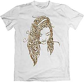 Round Neck Printed Cotton T-Shirt - golden woman