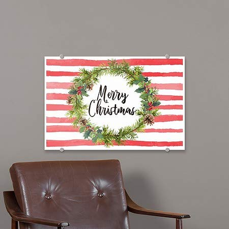 27x18 5-Pack Merry Christmas Wreath Premium Brushed Aluminum Sign CGSignLab Holiday Decor